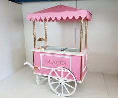 Chariot à glaces rose